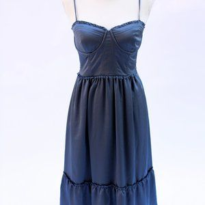 Abercrombie Satin Slate Blue Corset Midi Dress